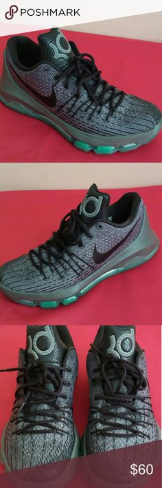 2015 Nike Kd 8 Hunts Hill Pwter SIZE 9 MEN & 11 WO Lightly and gently used..maybe 7-9 times. Retailed for $119. Shoes is in fabulous shape and condition and rated 8.9/10..showing just tiny sign of use...mainly inner of shoes and that's it. Shoes is guaranteed to be 100% authentic nike merchandise. For MEN OF SIZE 9...and WOMEN SIZE 11 respectively. PRICE IS A STEAL !! Nike Shoes Sneakers