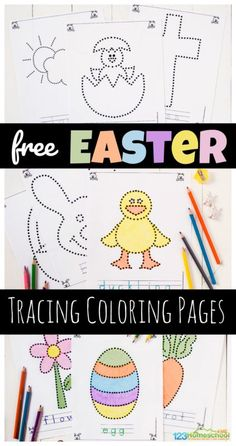 FREE Easter Tracing Coloring Pages - super cute printable worksheets for toddlers, preschoolers, pre k, and kindergarten age kids to work on strengthening fine motor skills in April Easter Worksheets, Easter Activities, Printable Worksheets, Activities For Kids, Coloring Worksheets, Tracing Worksheets, Free Worksheets, Printable Coloring, Free Printables