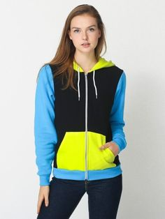 American Apparel - Unisex Flex Fleece Three-Tone Zip Hoodie