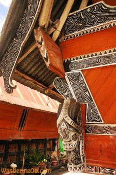 Colourful walls of traditional Batak homes, Samosir Island, Lake Toba