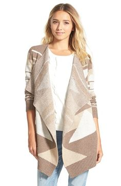 Free shipping and returns on Woven Heart WovenHeartGeo PatternOpenCardigan at Nordstrom.com. A bold geometric design styles a comfy cardigan cut with a long, loose fit and a drapeyopen front.