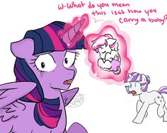 Double Diamond: H-hey Twi, I-I don't think that's how you're supposed to hold our baby. Twilight: What are you talking about? Dr. Hoofschitz's book says it's alright to carry a foal around like thi...
