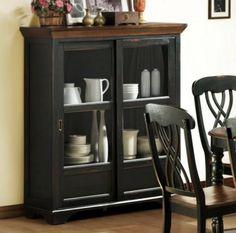 Ohana Casual Antique Black Warm Cherry Wood Glass Curio