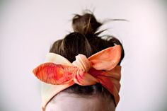 Indian cotton fabric, dyed tangerine & coral headband.  I really like this!