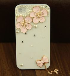 DIY Phone case cover for Apple iphone 4/4s iphone 5. iphone 3, samsung galaxy s4 i9500, galaxy s3 i9300Charms Bling Lovely Pink Flowers on Etsy, $15.99