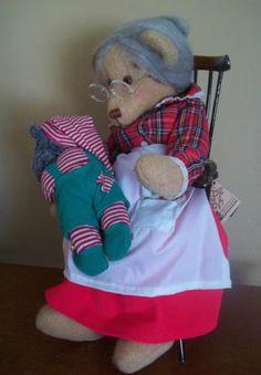 HANDMADE bj original MRS SANTA sewing seamstress CHRISTMAS felt craft TEDDY BEAR