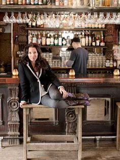 """This is hilarious, she decorated her """"saloon"""", Lustre Pearl, in Austin, with crystal chandeliers, and antique bar, and picnic tables out back. She has created a home away from home for her patrons, they say """"it's like going to their Grandparents""""!"""