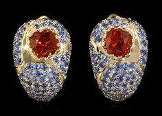 Mousson Atelier earrings Riviera Yellow gold 750, Citrine, Sapphires