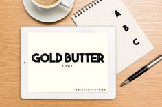 Gold Butter is an all-caps slab serif font inspired by vintage advertisements. Great for a variety of playful design projects! Business Brochure, Business Card Logo, Slab Serif Fonts, Paint Markers, Premium Fonts, Pencil Illustration, All Fonts, Glyphs, Vintage Advertisements