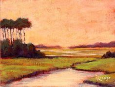 Original painting by Rosage... NC Coastal Marsh Landscape by Bernie Rosage Jr.
