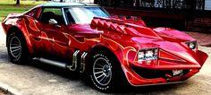 """George Barris - 1973 Chevrolet Corvette Stingray customized for the 1978 movie """"Corvette Summer Chevrolet Corvette Stingray, Custom Muscle Cars, Chevy Muscle Cars, Custom Cars, 32 Ford, Hot Cars, Gaz Monkey, Supercars, Volkswagen"""