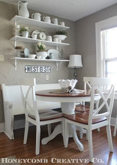 Kitchen Nook : Clean Cottage Decor Home Tour - love the church pew bench! Love the shelves above the bench. Inspiration for coffee bar! Kitchen Corner, New Kitchen, Kitchen Dining, Kitchen Decor, Kitchen Shelves, Kitchen Seating, Kitchen Tables, Kitchen Ideas, Corner Nook
