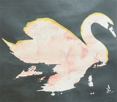 Swan  Metallic Grey/Black with Pink and Gold by VivianandBeverly