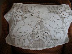 Large Vintage Filet Crochet Doily Parakeet Parrot by chameleonCMC, $8.00