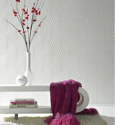 Curvy (17583) - Graham and Brown Wallpapers - A paintable white wallcovering - textured blown vinyl.  Shown in a retro geometric design. Please request sample for true design and texture. Pattern repeat 32 cm.
