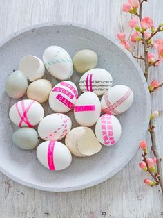 Really cool Easter egg decorating ideas: Using various tapes including label makers