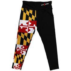 Maryland Flag Half Side (Black) / Workout Capris #Leggings #Maryland #Yoga-Pants-+-Shorts