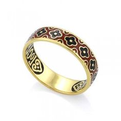 Православное кольцо с эмалью КПЭ002-4 ручной работы выполненное из серебра с позолотой