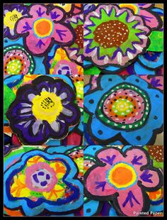 PAINTED PAPER - large painted flowers using her tag board placemats (one 40 minute class) / reference o'keefe