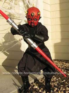 Darth Maul Costume: My 5 year old son wanted to be Darth Maul for Halloween this year. We found a Darth Maul costume reference from the 501st Legion. I took a karate pattern