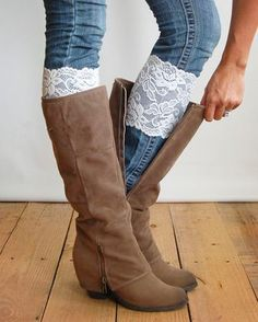 Stretch Lace Boot Cuffs - IVORY lace boot topper boot cuff - faux legwarmers - leg warmers lace cuff by Grace and Lace Crazy Shoes, Me Too Shoes, Look Fashion, Autumn Fashion, Fashion Spring, Iu Fashion, Fashion Clothes, Fashion Outfits, Ugg Boots