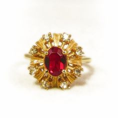 Vintage Garnet Red and Crystal Clear Rhinestone Golden Starburst Ring by VintageVegasGems on Etsy, $16.00