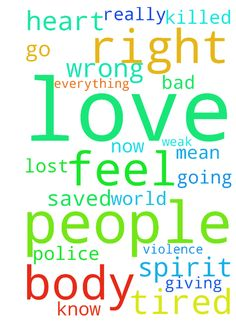 Lord with all that is going on in the world I pray - Lord with all that is going on in the world I pray that people will have love in their hearts and all the racism, police brutality, police being killed and violence stops. I pray God that no more blood will be shed and people will turn to you and to get their lives right and be saved.  I pray for the people who are killed in Chicago due to gun violence and I pray for those who do the killings. Lord please help us. I know that we are wrong…