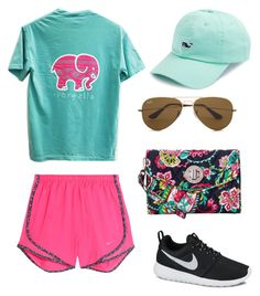 """""""Vacation Vibes☀️"""" by laurenevelynn on Polyvore featuring NIKE, Vera Bradley, Vineyard Vines and Ray-Ban"""