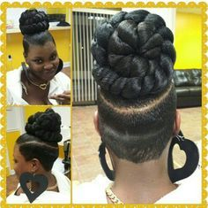 Braided bun/ tapered back Updo Styles, Ponytail Styles, Mohawk Ponytail, Mohawk Styles, Braids With Shaved Sides, Braids With Weave, Girl Hairstyles, Braided Hairstyles, Natural Hair Styles