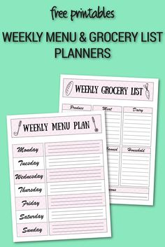 Free printable - weekly menu planning download and grocery list weekly planner - meal planning - budget meals - save money - how to guide