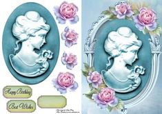 """Beautiful Blue Cameo With Roses on Craftsuprint designed by Amy Perry - Beautiful Blue Cameo With Roses in lovely blue plaque, also has decoupage and choice of tag """"Happy Birthday"""" """"Best Wishes"""" and a blank tag for your own sentiment - Now available for download!"""