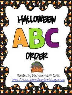 Halloween ABC Order Center Activity... Balanced Literacy, Halloween Kindergarten, 1st, 2nd, 3rd....This FREEBIE pack works great as a center activity, a stand alone activity, a collaborative table group activity or even can be sent home with families for some additional ABC order practice.   There are 20 Halloween-theme ABC order cards with Halloween clip art...8 pages