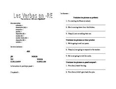 This is an page to introduce regular -RE verbs and to give students practice in the three tenses they know by D'Accord 1 Unit 6B: présent, passé composé, futur proche.