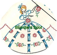 Vogart 187 Garden Girl with ribbons. A 1950s hand embroidery pattern.