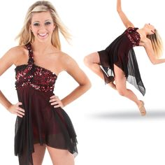 Sparkly and fun! Mixing lace with sequins! Can't go wrong in this beautiful dress with attached biketard.