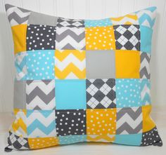 Pillow Cover - 18 x 18 Inches - Gray, Yellow and Aqua Blue Chevron