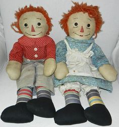 "Early Handmade Pair of 19"" Raggedy Ann and Andy Dolls from reddoorantiques on Ruby Lane"