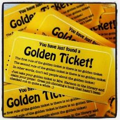 Golden Ticket: Hide in Seldom-Read Library or Classroom Books FUN! Freebie from TPT!hide these in rarely-read library or classroom books to offer a surprise to the reader! Reading Library, Reading Workshop, Library Books, Library Ideas, School Library Decor, Library Book Displays, Class Library, Read Books, Teen Library Space