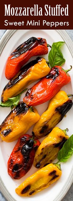 Perfect summer appetizer! These sweet mini peppers are stuffed with smoked mozzarella cheese and basil. Grill, bake, or broil. So easy! A real crowd pleaser. Great as a side for chicken or pork too.