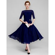 Lan+Ting+A-line+Mother+of+the+Bride+Dress+-+Dark+Navy+Tea-length+Half+Sleeve+Chiffon+–+USD+$+89.99