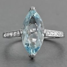 Art Deco Marquise Aquamarine and Diamond Ring at Perry's