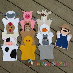 Set of 10 Farm Hand and Finger Puppets In The by TheAppliquePlace