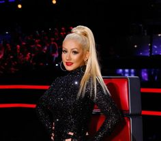 """Will Christina Aguilera finally be the first female coach to win """"The Voice""""? She faces off again against Blake Shelton, Pharrell Williams, and Adam Levine with arguably the best team she has ever had for the NBC reality program. The Voice Show, Christina Aguilera The Voice, Blake Shelton, Celebrity Moms, Pharrell Williams, Celebs, Celebrities, Popular Culture, Get The Look"""