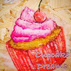 Pink and red cherry cupcake art Cherry Cupcakes, Apple Art, Cupcake Art, Toffee, Desserts, Red, Pink, Sticky Toffee, Tailgate Desserts