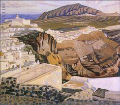 """""""Σαντορίνη"""", Μαλέας Landscape Art, Landscape Paintings, Greece Painting, 10 Picture, Greek Art, Color Of Life, Conceptual Art, Greek Islands, Artist Art"""