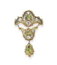 A FINE ART NOUVEAU PERIDOT, DIAMOND AND ENAMEL BROOCH, BY MARCUS & CO.