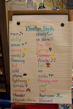 WEATHER WORDS This activity would be a simple, yet engaging, way for students to share their own ideas about weather. Together, the whole class would brainstorm common weather terms and put them on display for the rest of the seasonal weather unit. 1st Grade Science, Kindergarten Science, Science Classroom, Teaching Science, Science Activities, Classroom Activities, Science Experiments, Science Ideas, Science Education
