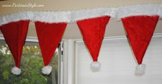 Santa hat garland made from hat from the dollar store