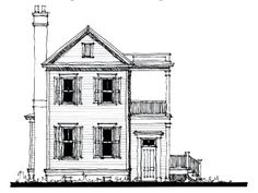 Country Historic House Plan - long line open floor plan, 1st floor master