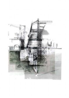 Architekture, drawing, ink, black and white